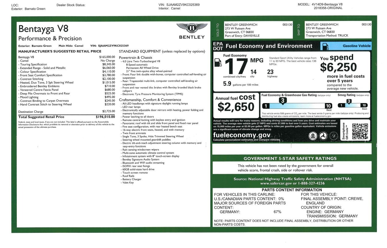 New 2019 Bentley Bentayga V8 For Sale In Greenwich, CT. Alfa Romeo of Greenwich, B1386 2541_p32