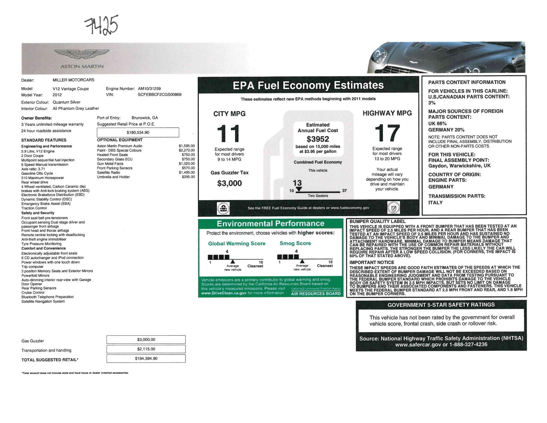 Used 2012 Aston Martin V12 Vantage Coupe For Sale In Greenwich, CT. Alfa Romeo of Greenwich, 7425 2544_p20