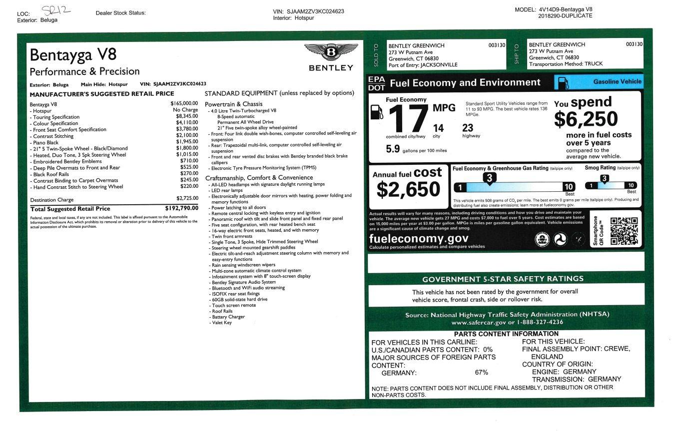 New 2019 Bentley Bentayga V8 For Sale In Greenwich, CT. Alfa Romeo of Greenwich, B1373 2552_p32