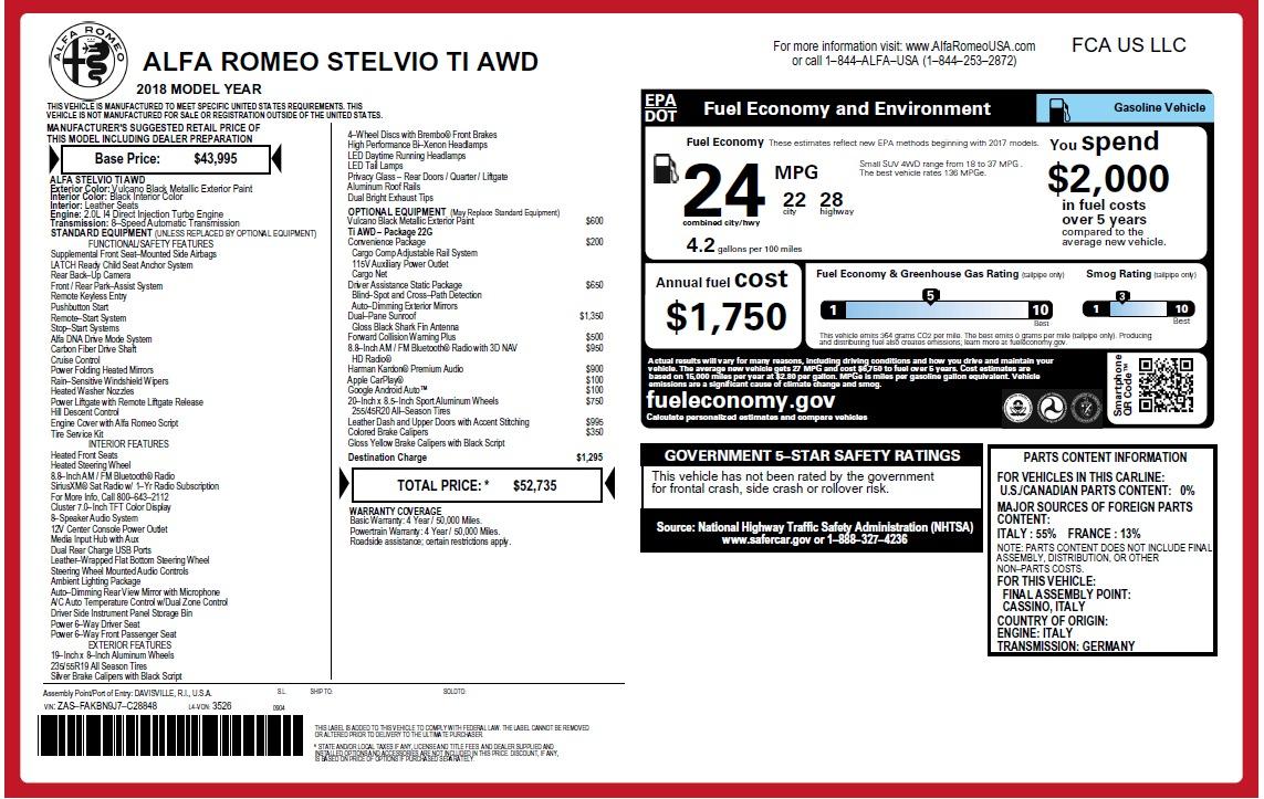 New 2018 Alfa Romeo Stelvio Ti Q4 For Sale In Greenwich, CT. Alfa Romeo of Greenwich, LW241 2630_p2