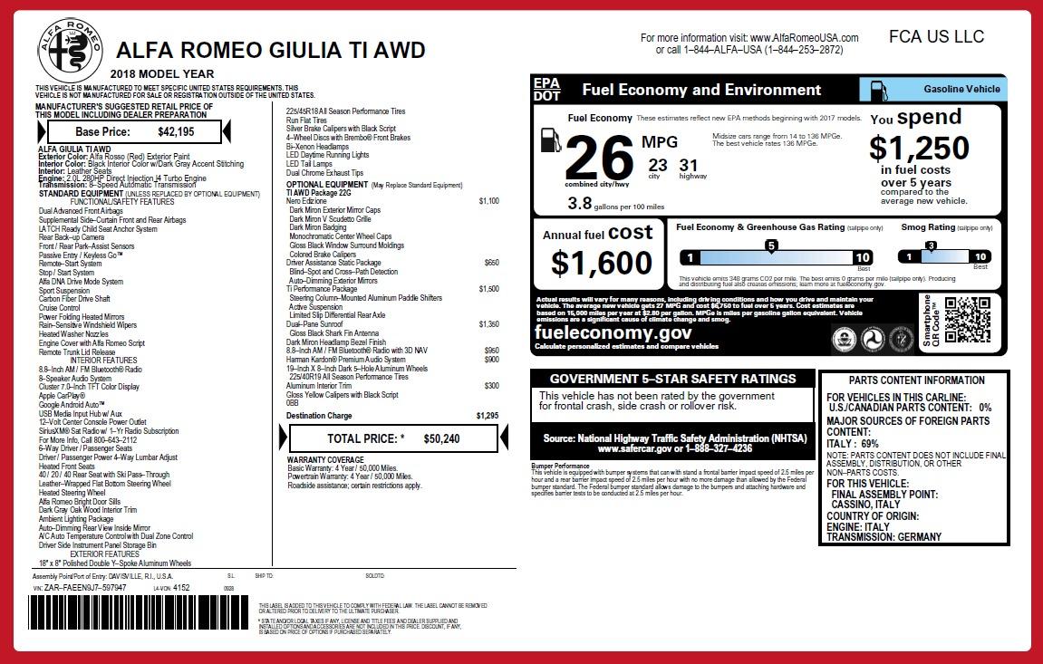 New 2018 Alfa Romeo Giulia Ti Q4 For Sale In Greenwich, CT. Alfa Romeo of Greenwich, LW247 2647_p2