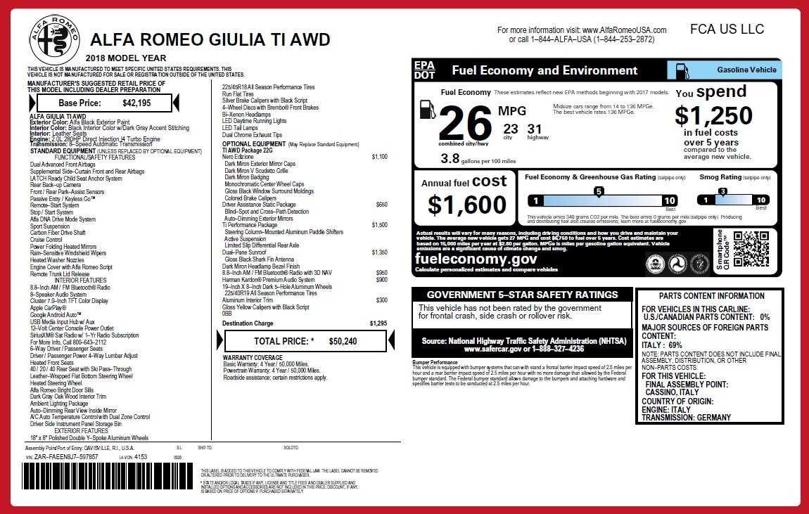 New 2018 Alfa Romeo Giulia Ti Q4 For Sale In Greenwich, CT. Alfa Romeo of Greenwich, LW254 2648_p2