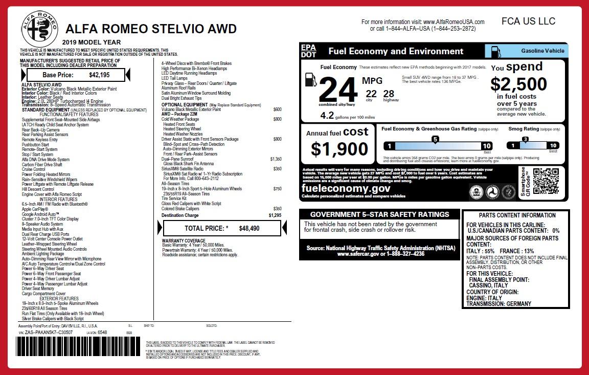 New 2019 Alfa Romeo Stelvio Q4 For Sale In Greenwich, CT. Alfa Romeo of Greenwich, L486 2650_p26