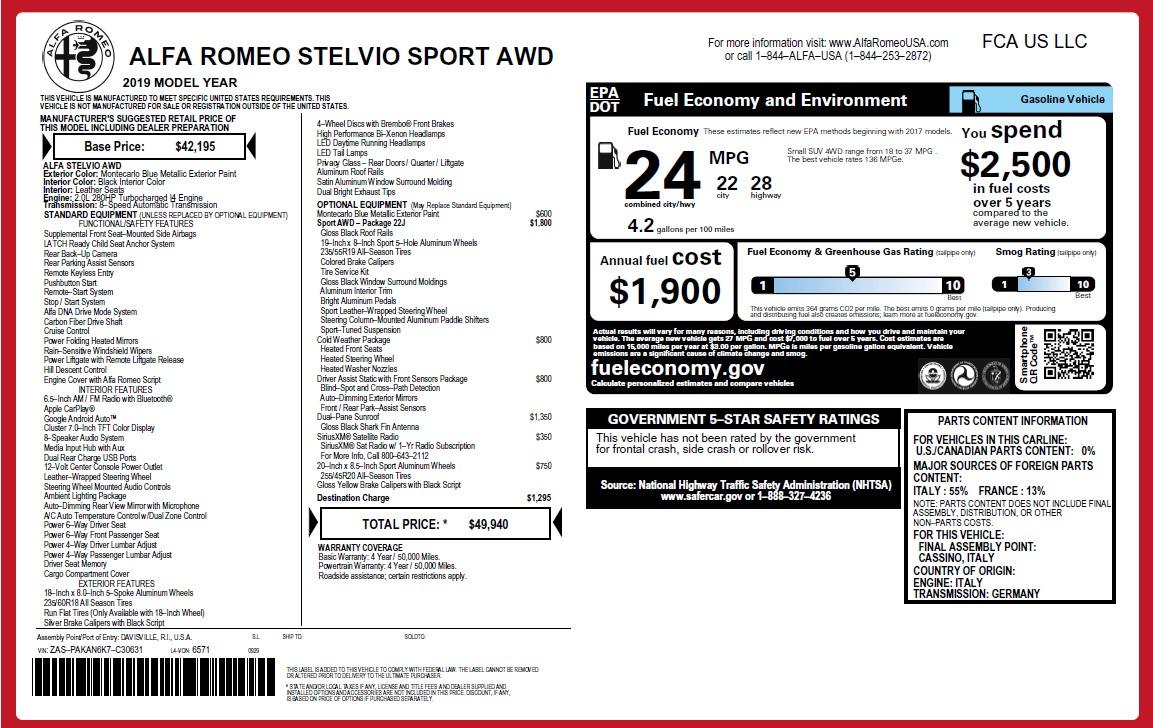 New 2019 Alfa Romeo Stelvio Q4 For Sale In Greenwich, CT. Alfa Romeo of Greenwich, L492 2652_p31