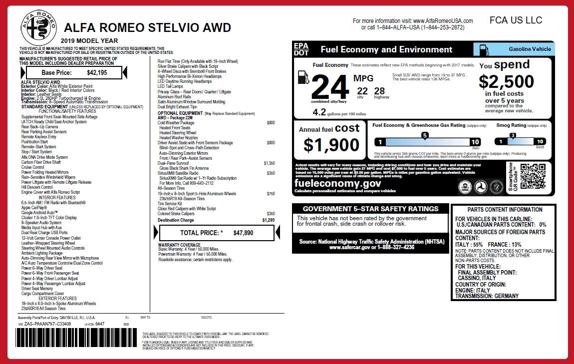 New 2019 Alfa Romeo Stelvio Q4 For Sale In Greenwich, CT. Alfa Romeo of Greenwich, L497 2657_p21