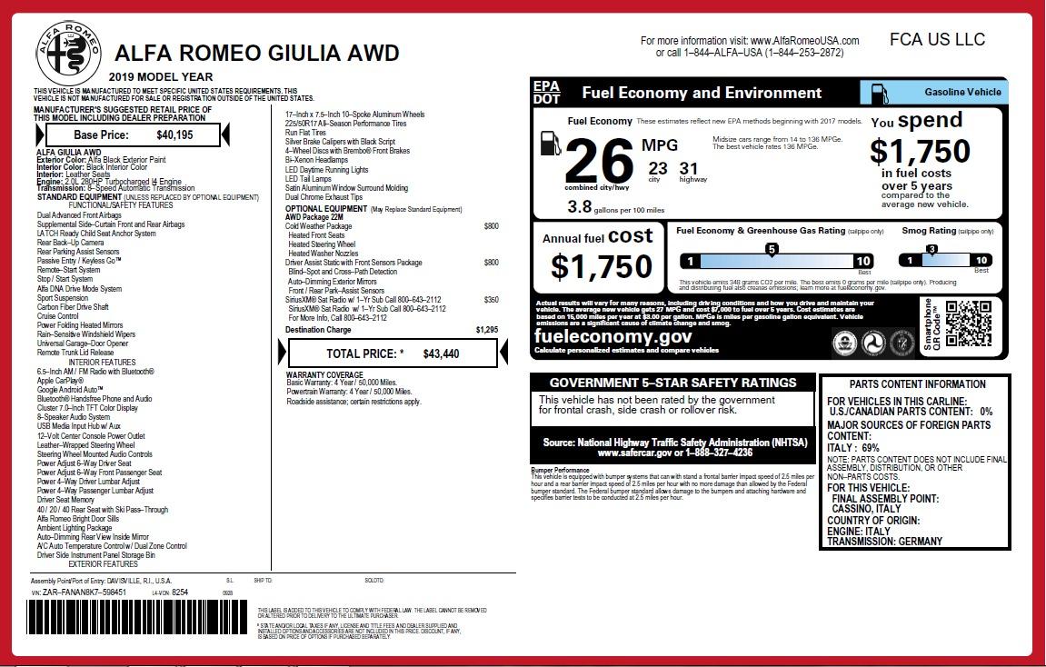 New 2019 Alfa Romeo Giulia Q4 For Sale In Greenwich, CT. Alfa Romeo of Greenwich, LW252 2665_p23