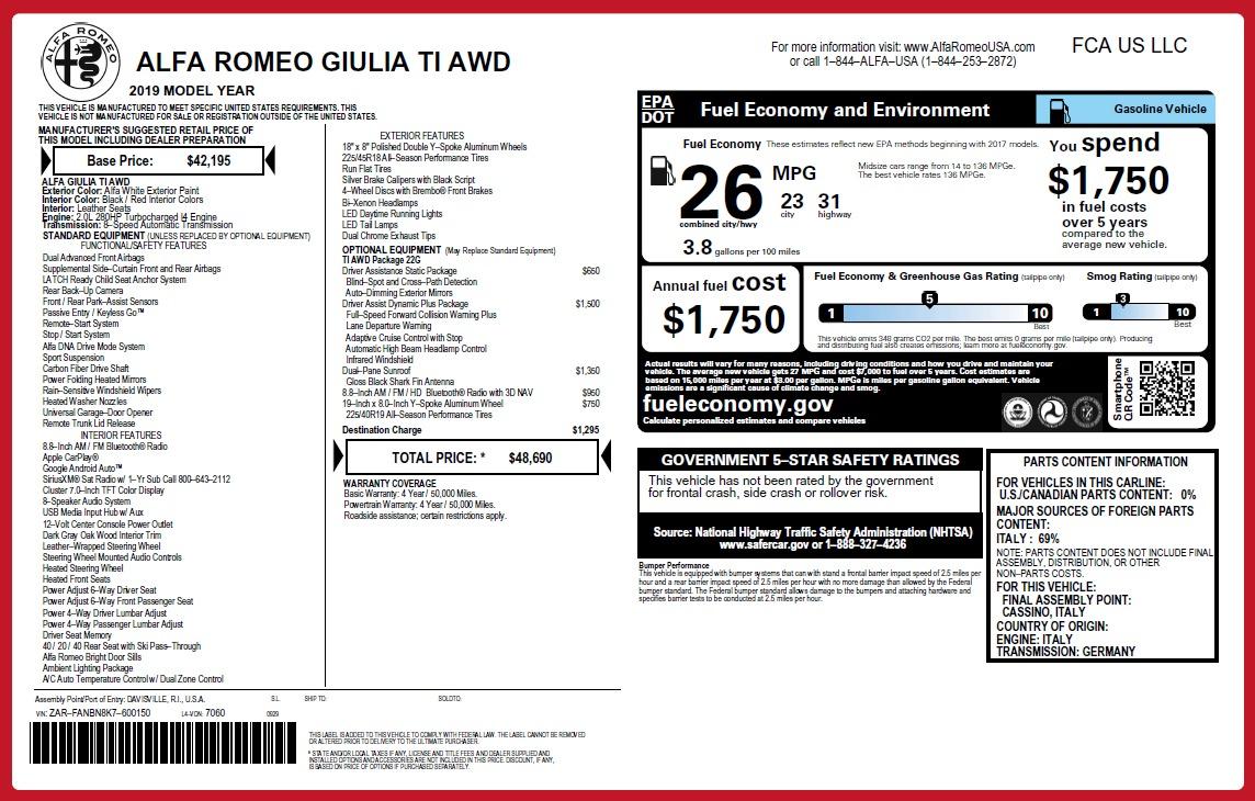 New 2019 Alfa Romeo Giulia Ti Q4 For Sale In Greenwich, CT. Alfa Romeo of Greenwich, LW255 2667_p32