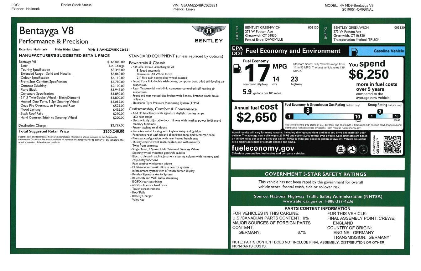 New 2019 Bentley Bentayga V8 For Sale In Greenwich, CT. Alfa Romeo of Greenwich, B1398 2674_p32