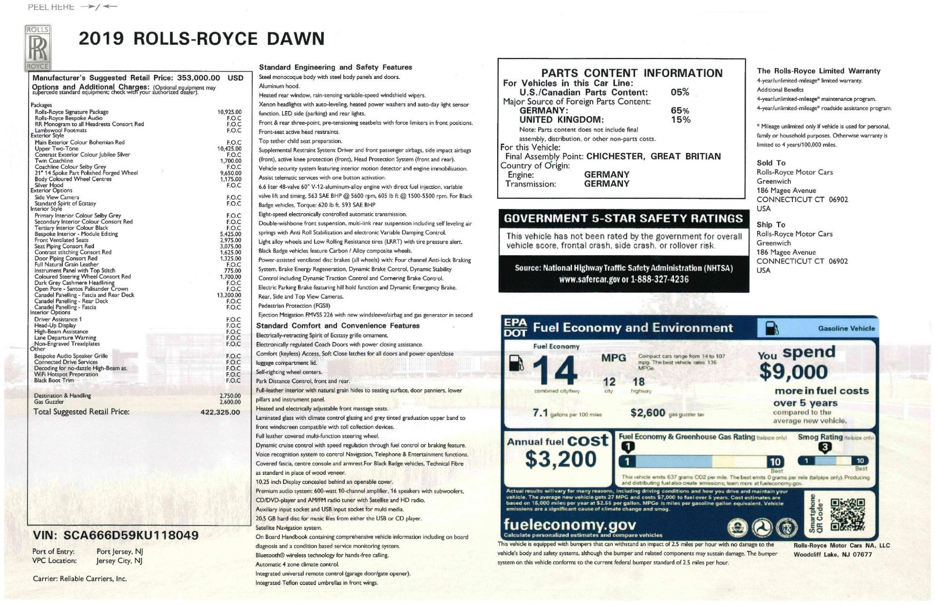 Used 2019 Rolls-Royce Dawn  For Sale In Greenwich, CT. Alfa Romeo of Greenwich, R506 2692_p57