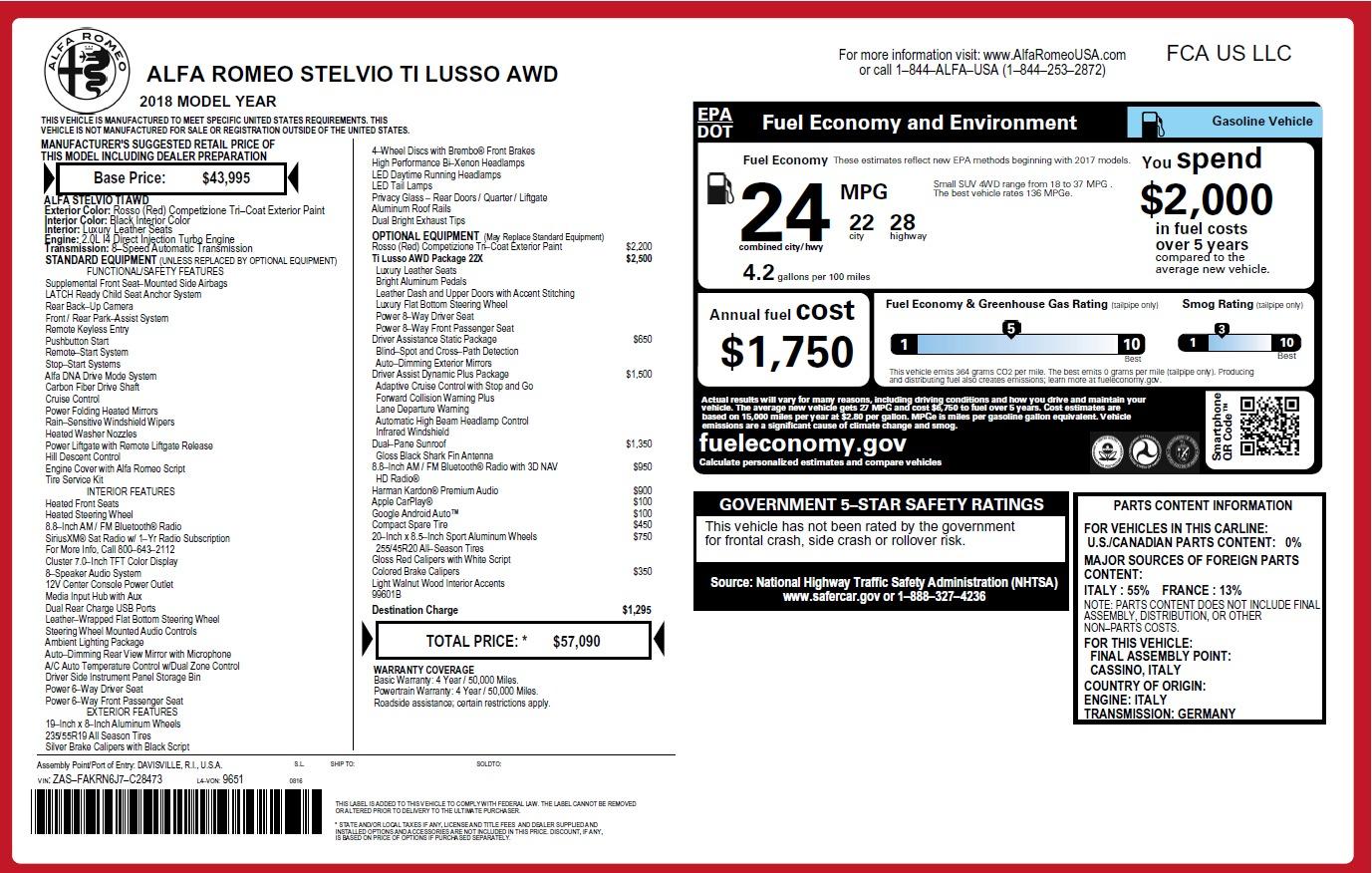 New 2018 Alfa Romeo Stelvio Ti Lusso Q4 For Sale In Greenwich, CT. Alfa Romeo of Greenwich, L502 2704_p26