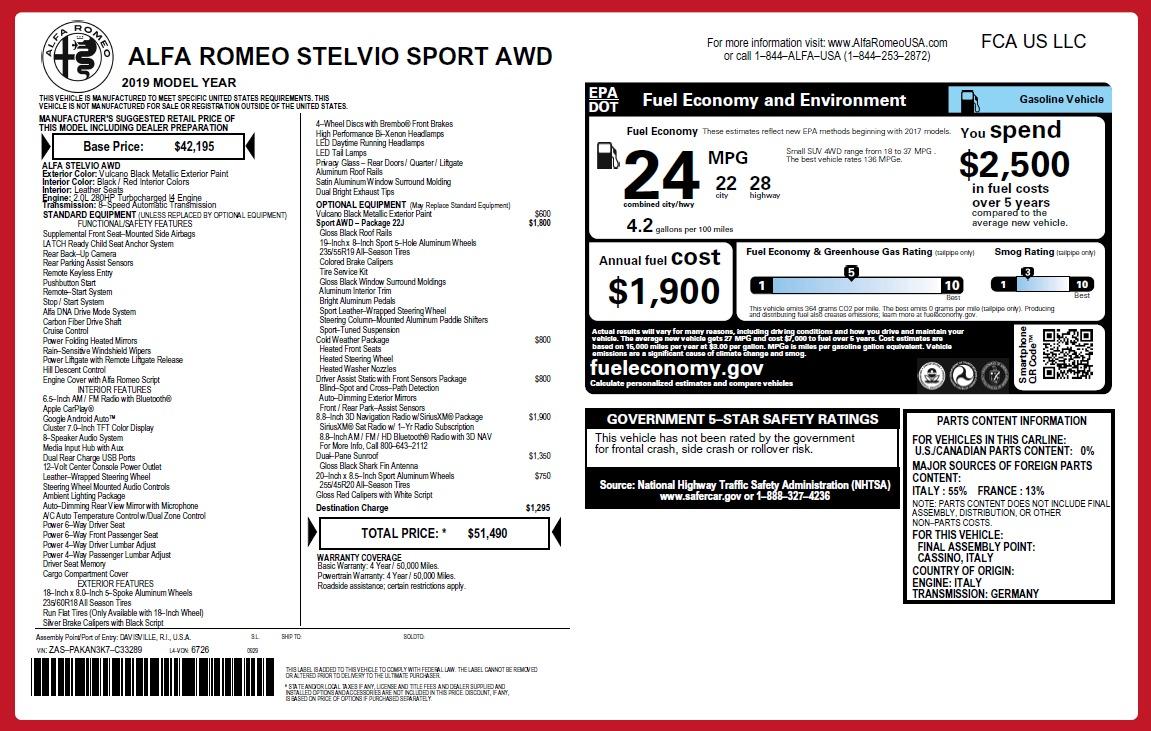 New 2019 Alfa Romeo Stelvio Sport Q4 For Sale In Greenwich, CT. Alfa Romeo of Greenwich, L503 2705_p26