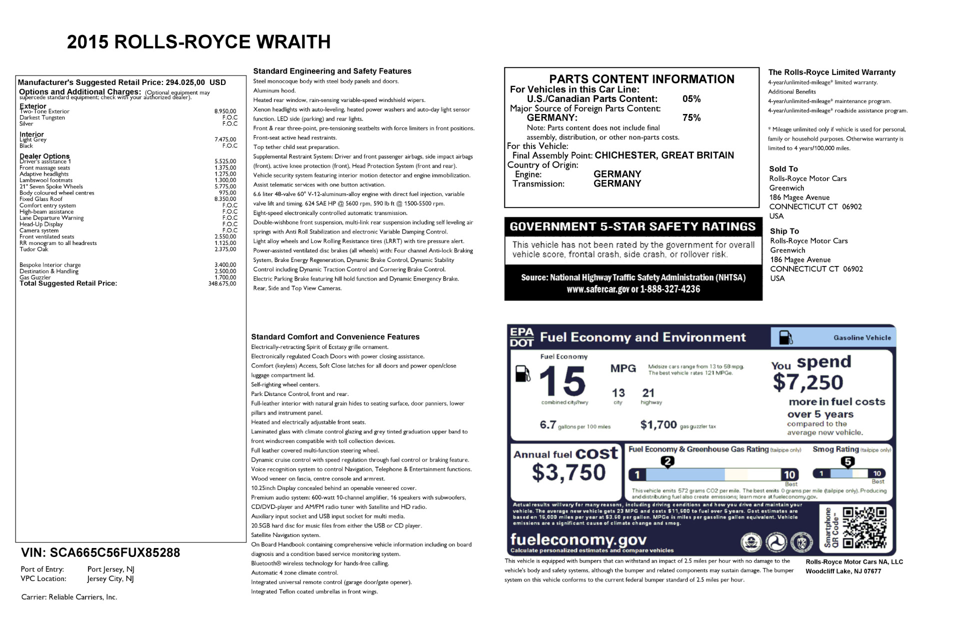 Used 2015 Rolls-Royce Wraith  For Sale In Greenwich, CT. Alfa Romeo of Greenwich, 7442 2716_p25