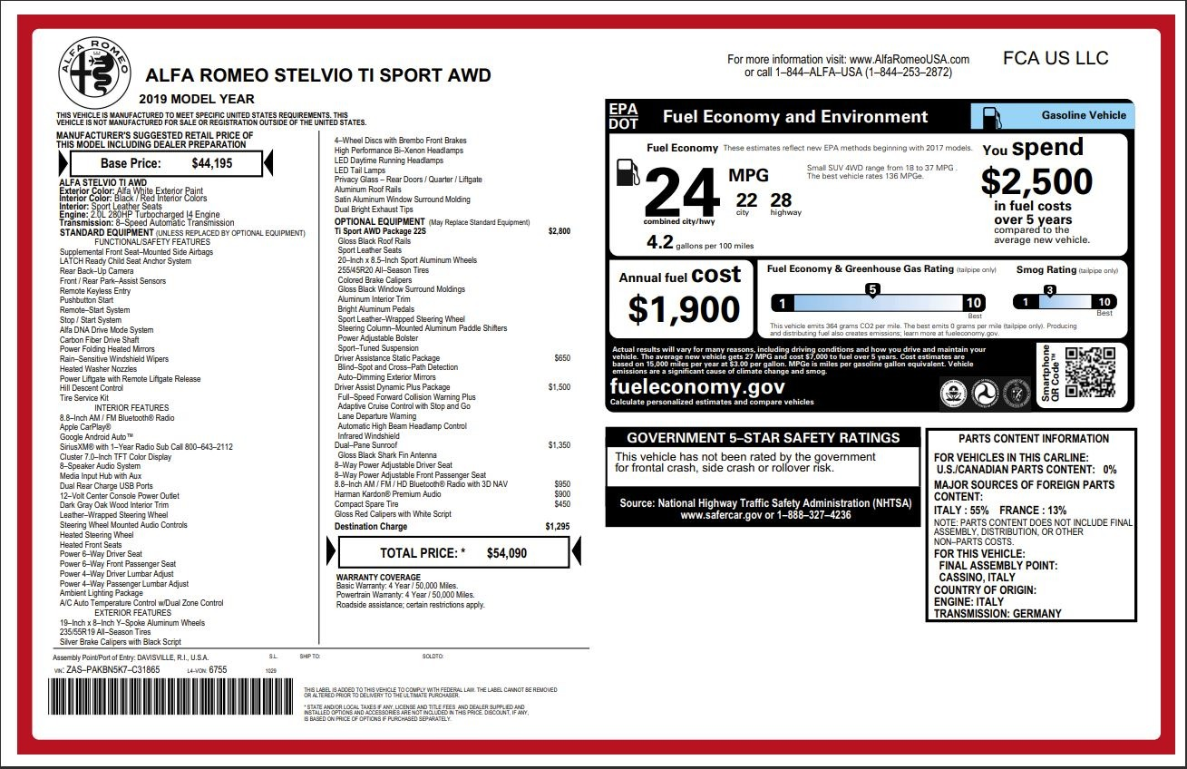 New 2019 Alfa Romeo Stelvio Ti Sport Q4 For Sale In Greenwich, CT. Alfa Romeo of Greenwich, LW278