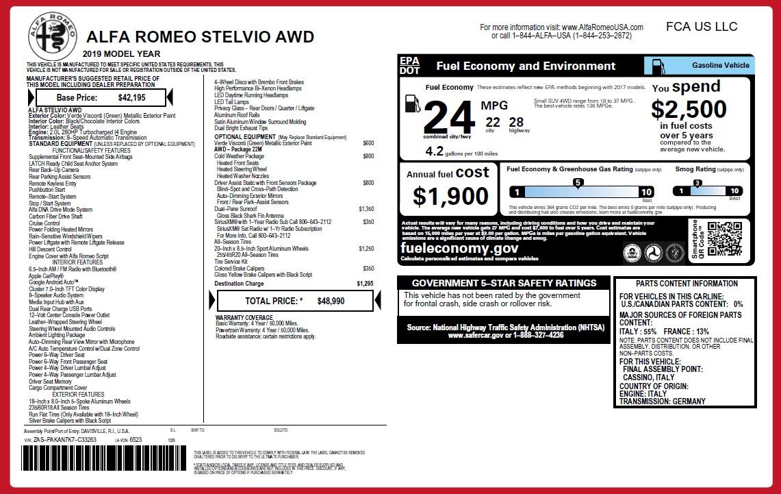 New 2019 Alfa Romeo Stelvio Q4 For Sale In Greenwich, CT. Alfa Romeo of Greenwich, L516 2761_p21