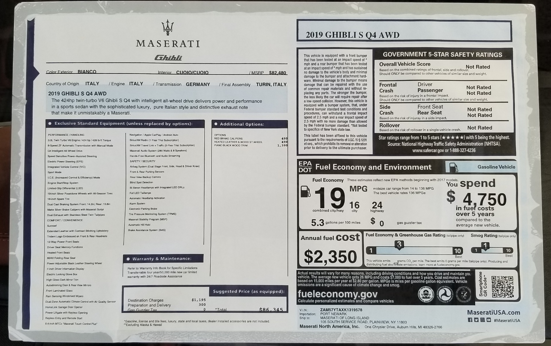 New 2019 Maserati Ghibli S Q4 For Sale In Greenwich, CT. Alfa Romeo of Greenwich, M2245 2795_p24