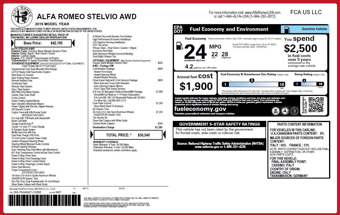 New 2019 Alfa Romeo Stelvio Q4 For Sale In Greenwich, CT. Alfa Romeo of Greenwich, L528 2818_p21