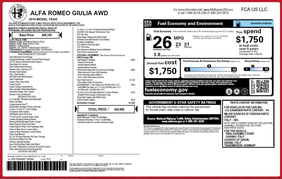 New 2019 Alfa Romeo Giulia Q4 For Sale $45890 In Greenwich, CT 2820_p23