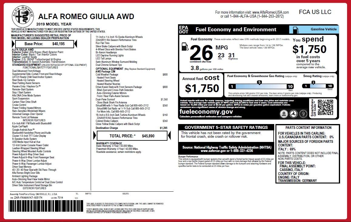 New 2019 Alfa Romeo Giulia Q4 For Sale In Greenwich, CT. Alfa Romeo of Greenwich, LW282 2821_p26