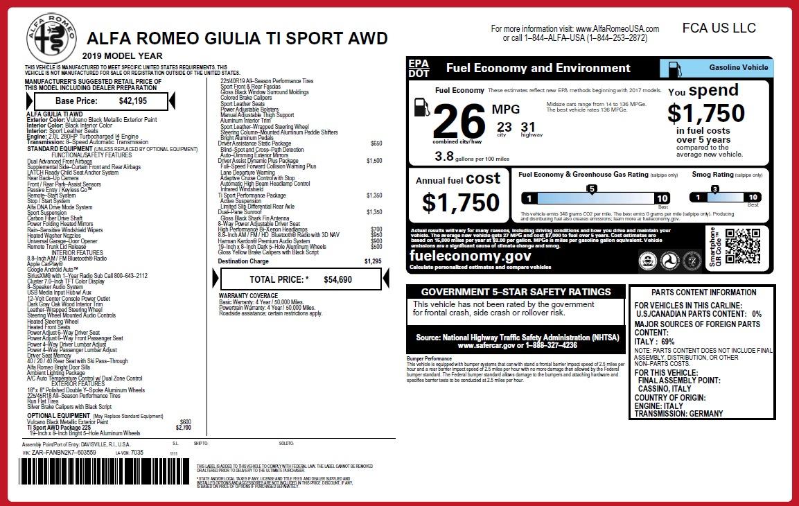 New 2019 Alfa Romeo Giulia Ti Sport Q4 For Sale In Greenwich, CT. Alfa Romeo of Greenwich, LW284 2823_p26