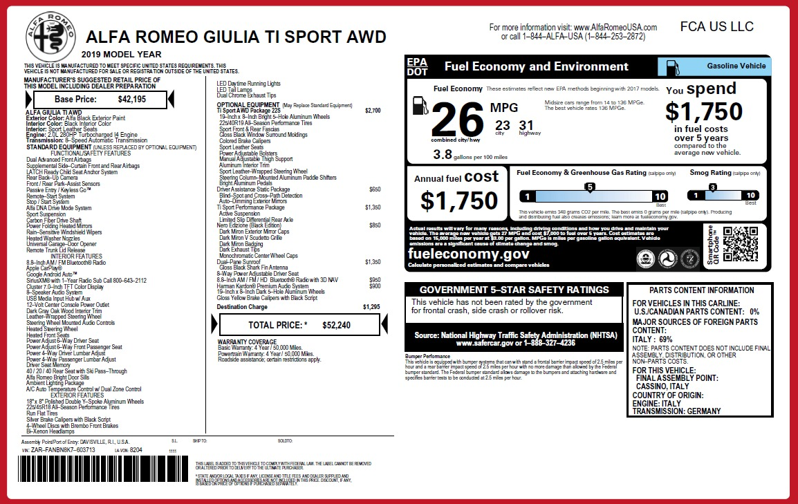 New 2019 Alfa Romeo Giulia Ti Sport Q4 For Sale In Greenwich, CT. Alfa Romeo of Greenwich, LW286 2825_p26