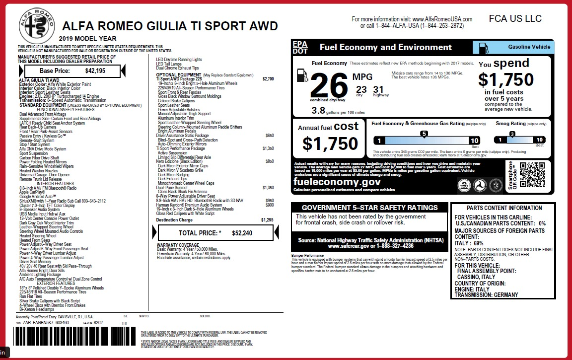 New 2019 Alfa Romeo Giulia Ti Sport Q4 For Sale In Greenwich, CT. Alfa Romeo of Greenwich, LW287 2826_p27