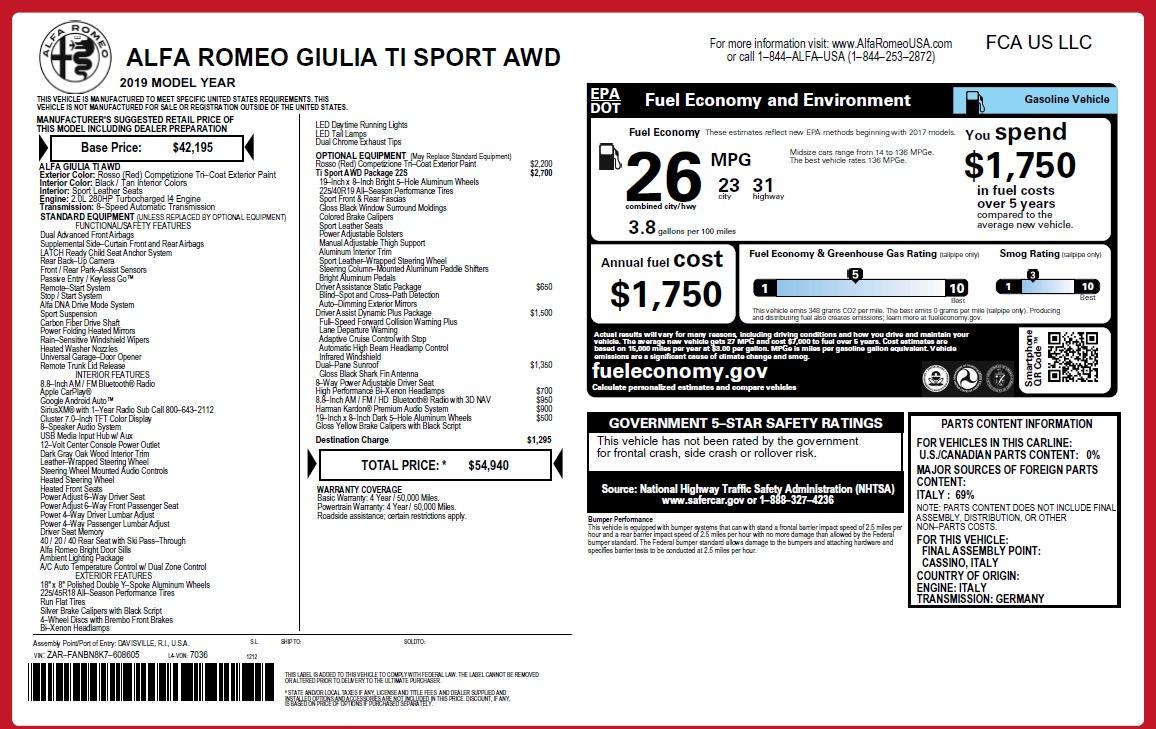 New 2019 Alfa Romeo Giulia Ti Sport Q4 For Sale In Greenwich, CT. Alfa Romeo of Greenwich, LW289 2833_p15