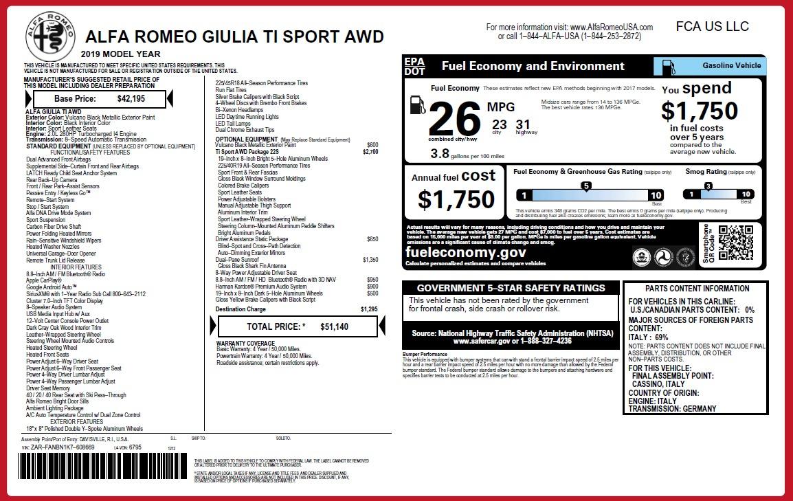 New 2019 Alfa Romeo Giulia Ti Sport Q4 For Sale In Greenwich, CT. Alfa Romeo of Greenwich, L546 2840_p26