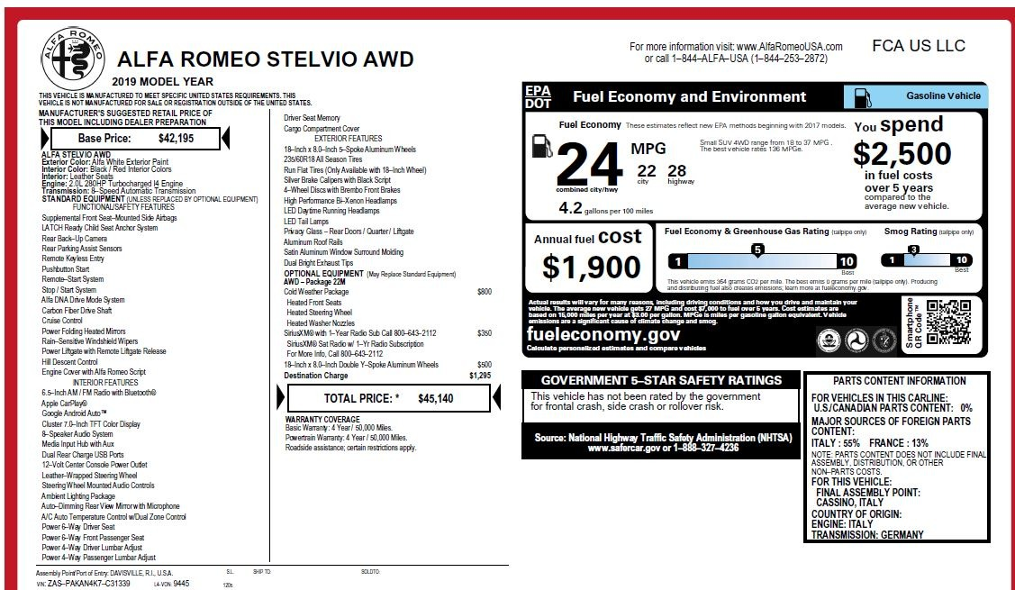 New 2019 Alfa Romeo Stelvio Q4 For Sale In Greenwich, CT. Alfa Romeo of Greenwich, L547 2849_p31