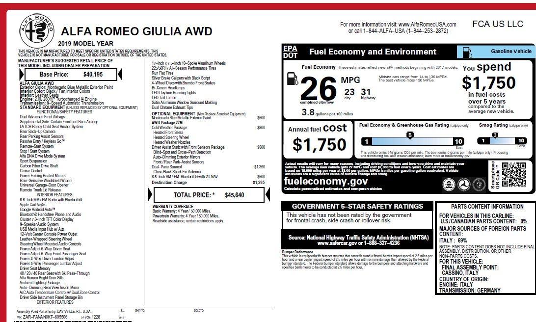 New 2019 Alfa Romeo Giulia Q4 For Sale In Greenwich, CT. Alfa Romeo of Greenwich, L555 2850_p26