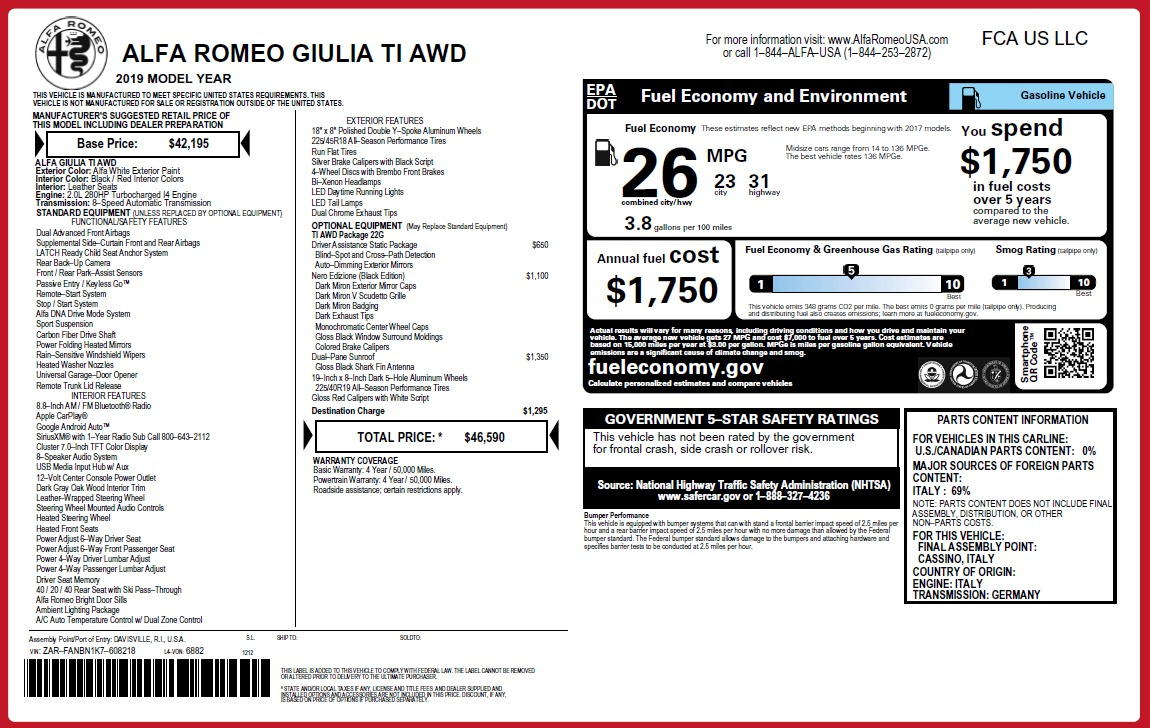 New 2019 Alfa Romeo Giulia Ti Q4 For Sale In Greenwich, CT. Alfa Romeo of Greenwich, LW296 2856_p2