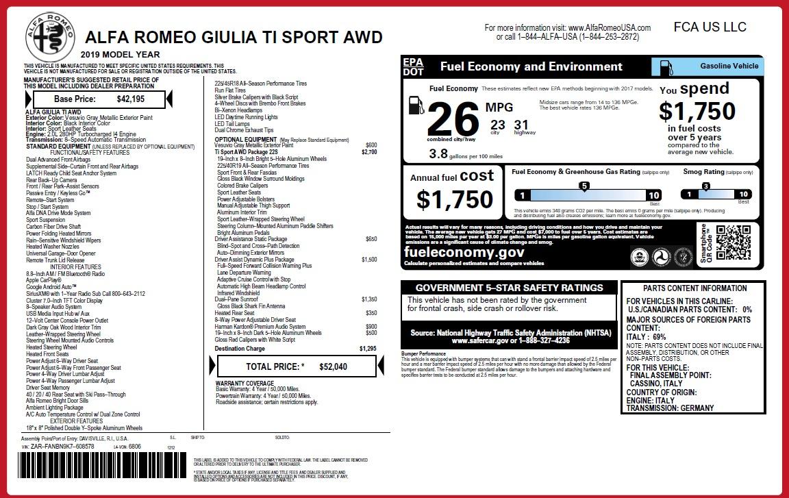 New 2019 Alfa Romeo Giulia Ti Sport Q4 For Sale In Greenwich, CT. Alfa Romeo of Greenwich, L549 2857_p31