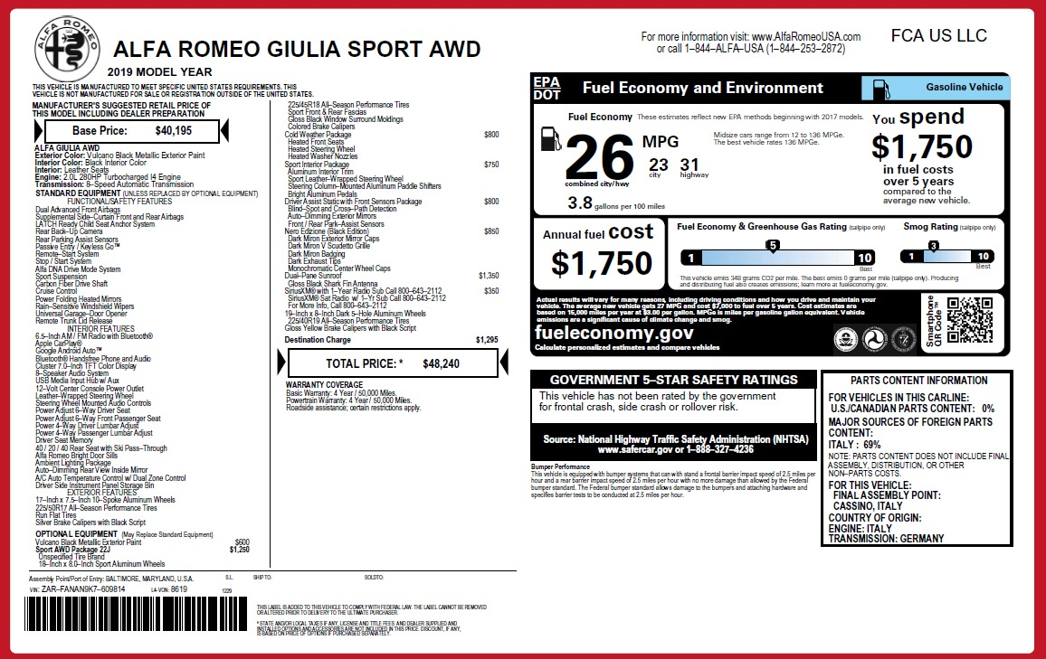 New 2019 Alfa Romeo Giulia Sport Q4 For Sale In Greenwich, CT. Alfa Romeo of Greenwich, L562 2891_p24