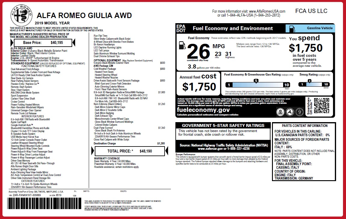 New 2019 Alfa Romeo Giulia Q4 For Sale In Greenwich, CT. Alfa Romeo of Greenwich, L563 2892_p26