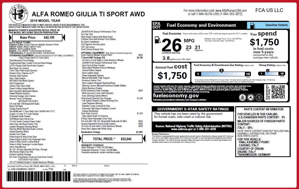 New 2019 Alfa Romeo Giulia Ti Sport Q4 For Sale In Greenwich, CT. Alfa Romeo of Greenwich, L566 2895_p2