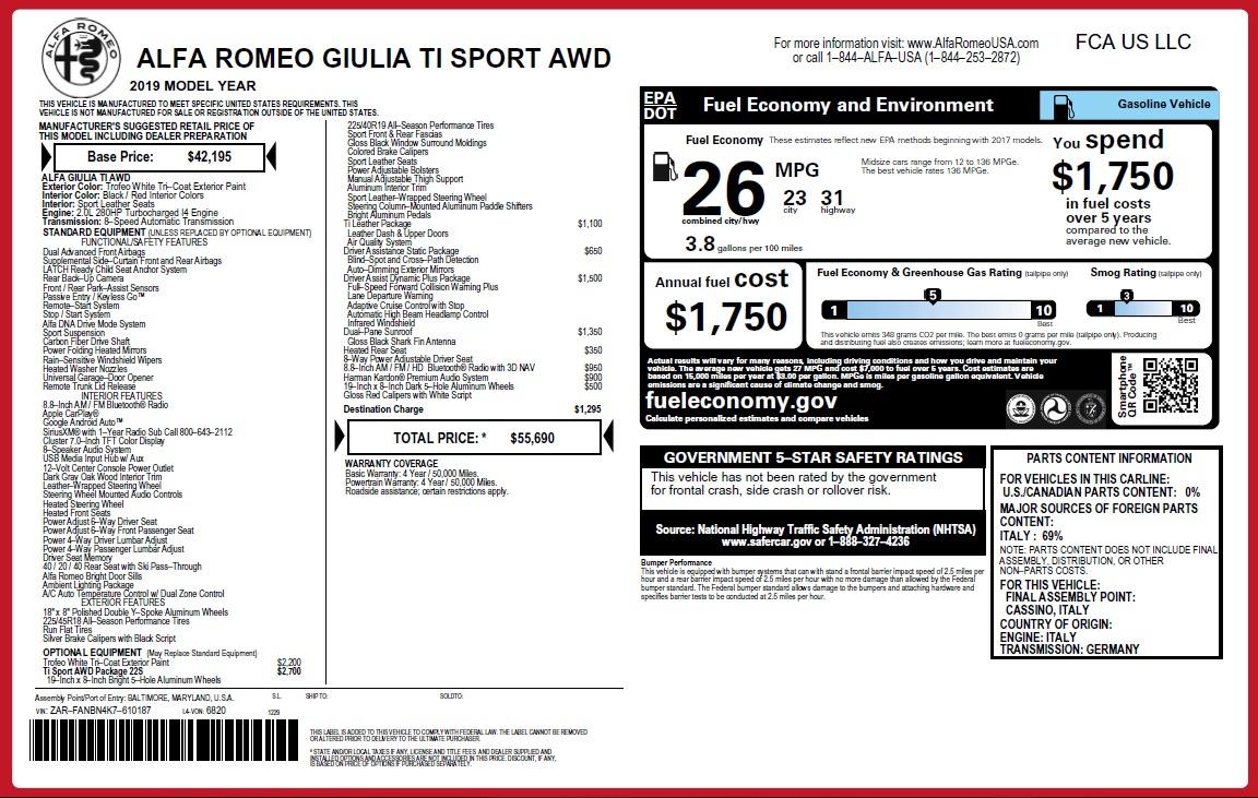 New 2019 Alfa Romeo Giulia Ti Sport Q4 For Sale In Greenwich, CT. Alfa Romeo of Greenwich, L567 2896_p31