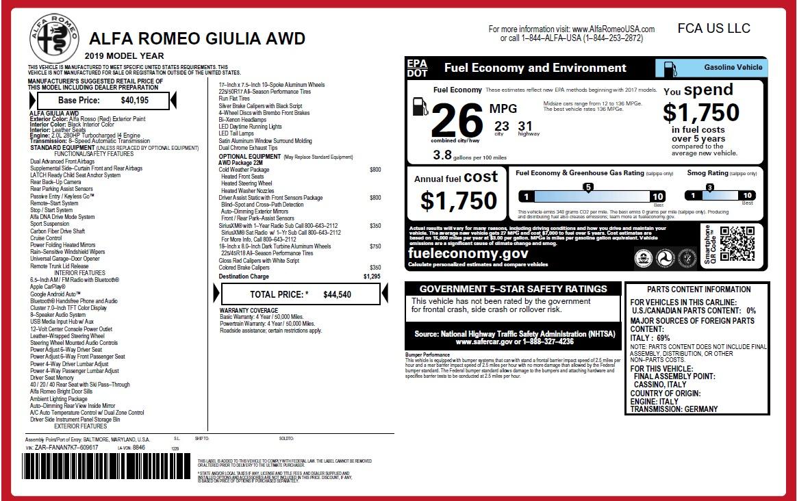 New 2019 Alfa Romeo Giulia Q4 For Sale In Greenwich, CT. Alfa Romeo of Greenwich, LW302 2906_p20