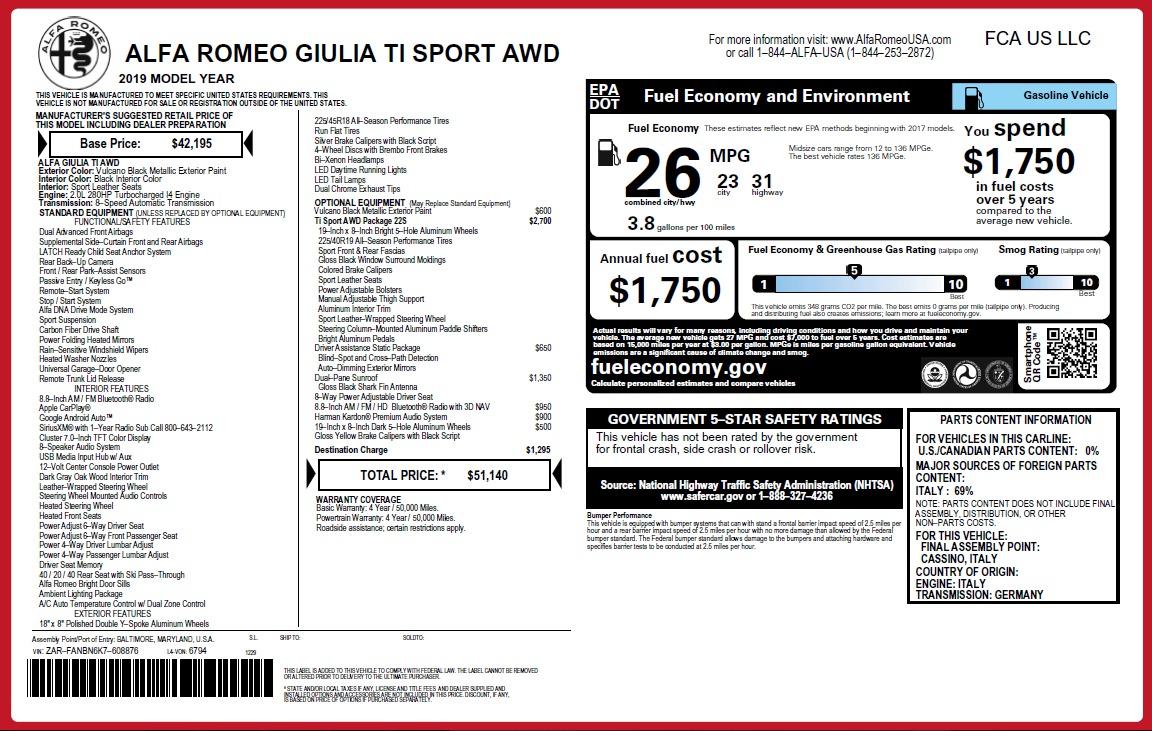 New 2019 Alfa Romeo Giulia Ti Sport Q4 For Sale In Greenwich, CT. Alfa Romeo of Greenwich, L573 2912_p26