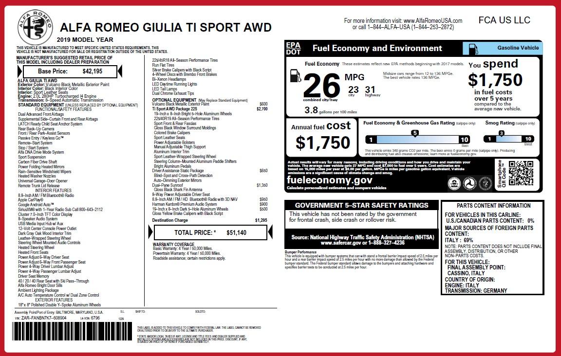 New 2019 Alfa Romeo Giulia Ti Sport Q4 For Sale In Greenwich, CT. Alfa Romeo of Greenwich, L574 2913_p31
