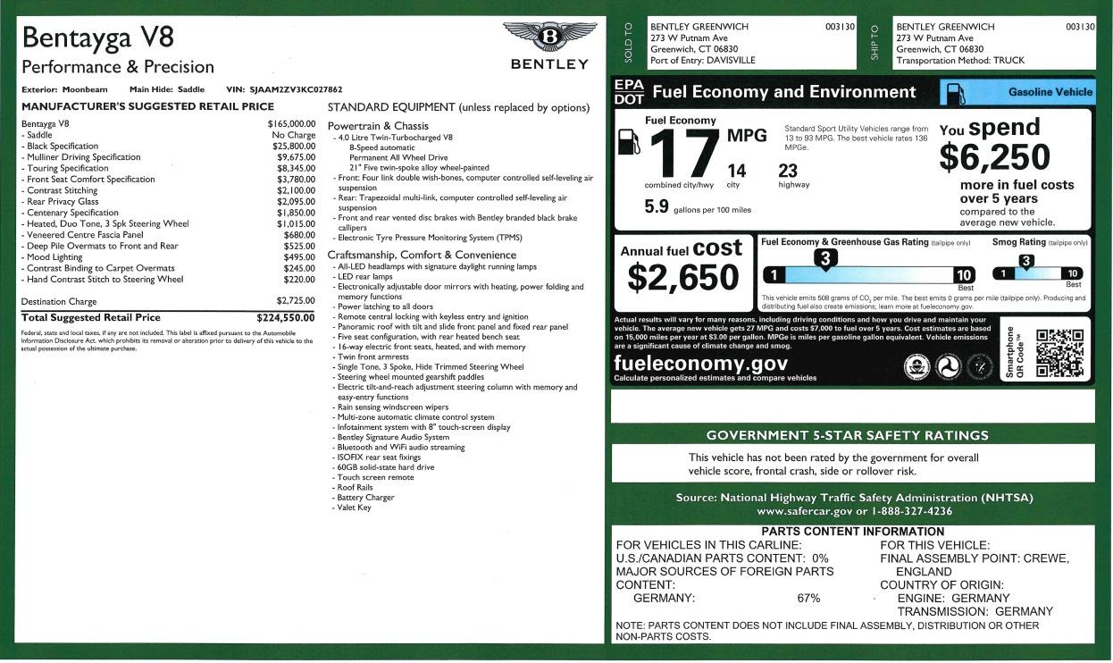 New 2019 Bentley Bentayga V8 For Sale In Greenwich, CT. Alfa Romeo of Greenwich, B1405 2936_p32