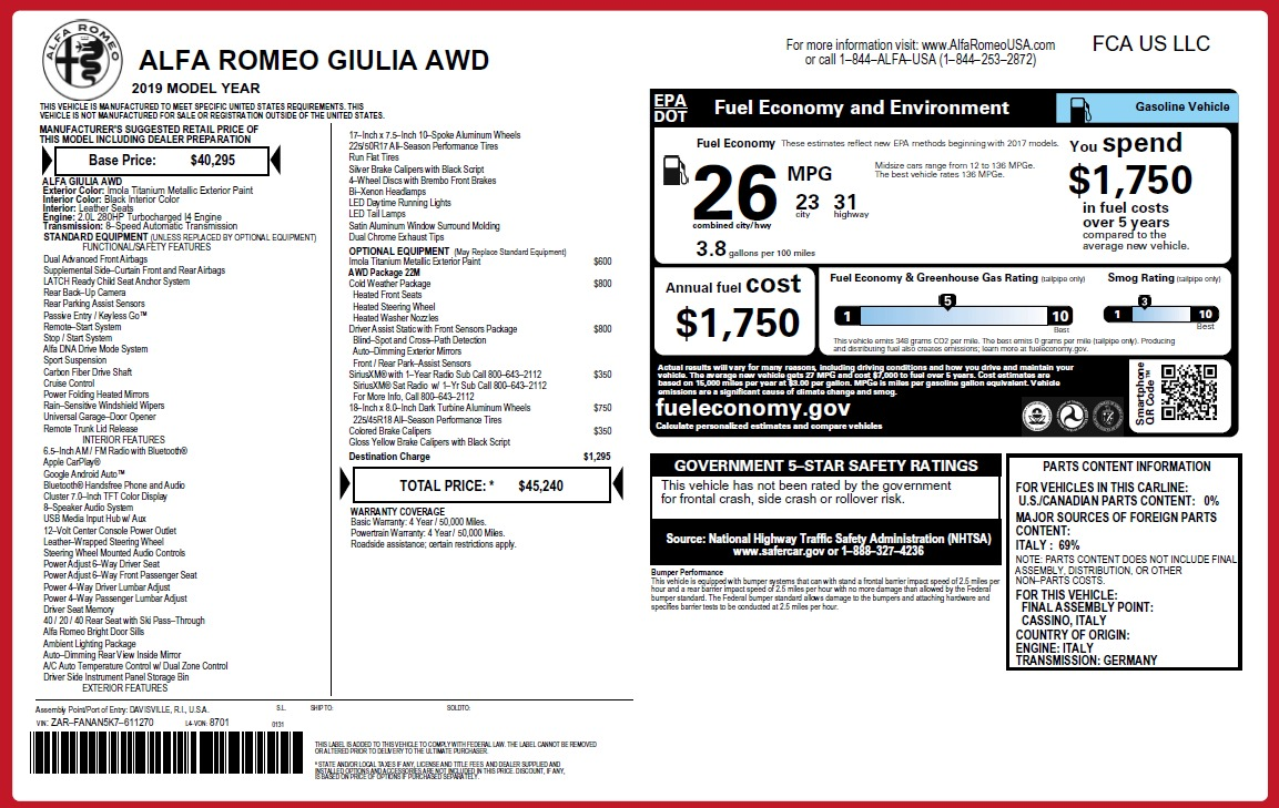 New 2019 Alfa Romeo Giulia Q4 For Sale In Greenwich, CT. Alfa Romeo of Greenwich, L576 2947_p21