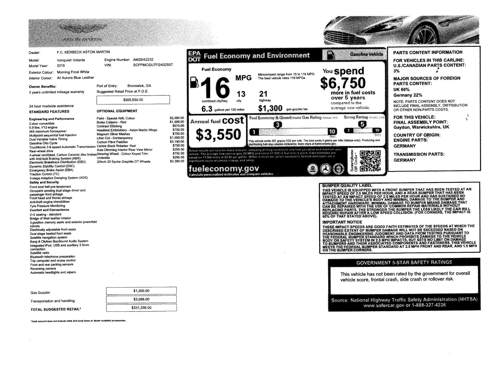 Used 2015 Aston Martin Vanquish Convertible For Sale In Greenwich, CT. Alfa Romeo of Greenwich, 7507 2982_p27