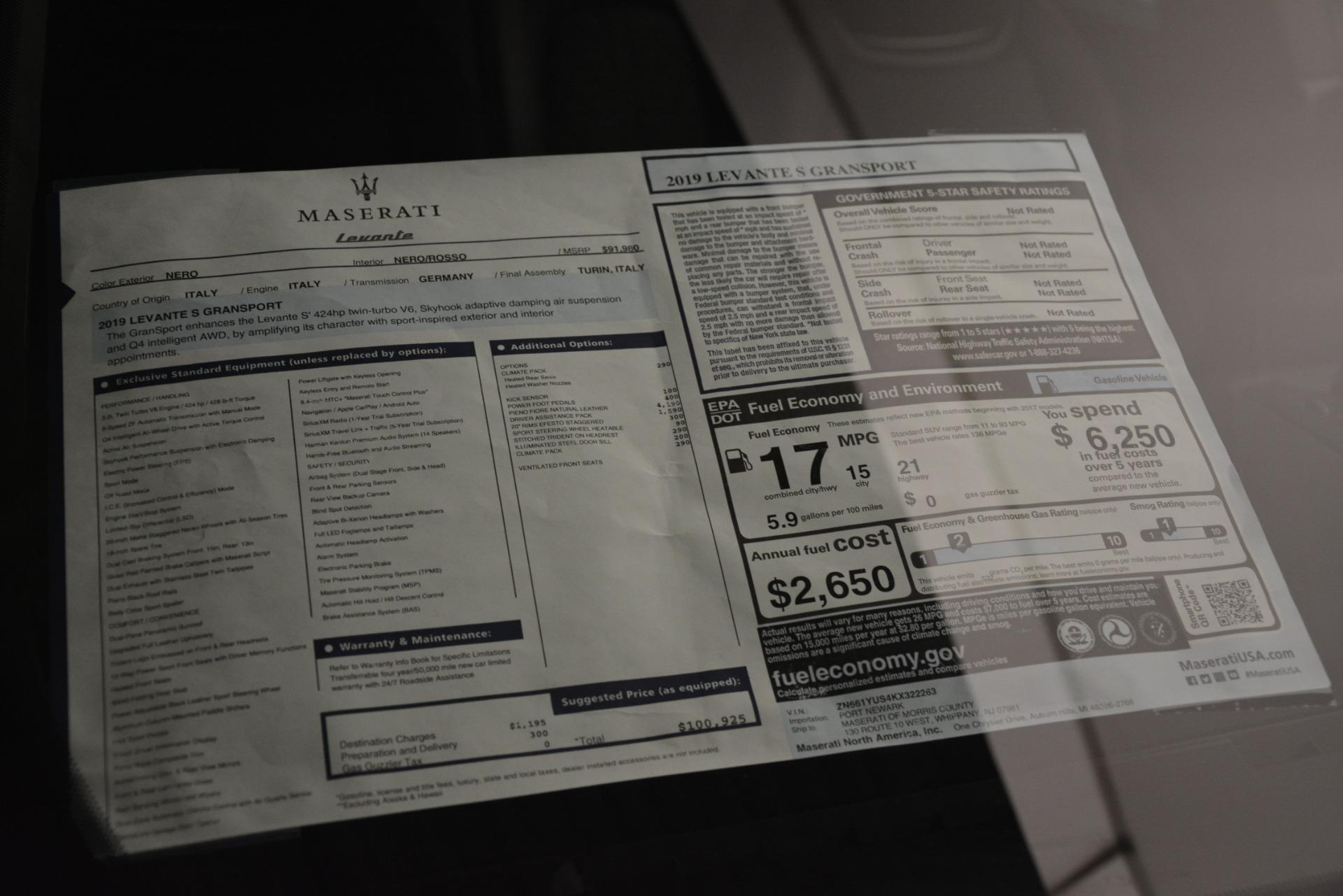 New 2019 Maserati Levante S Q4 GranSport For Sale In Greenwich, CT. Alfa Romeo of Greenwich, M2281 3034_p31