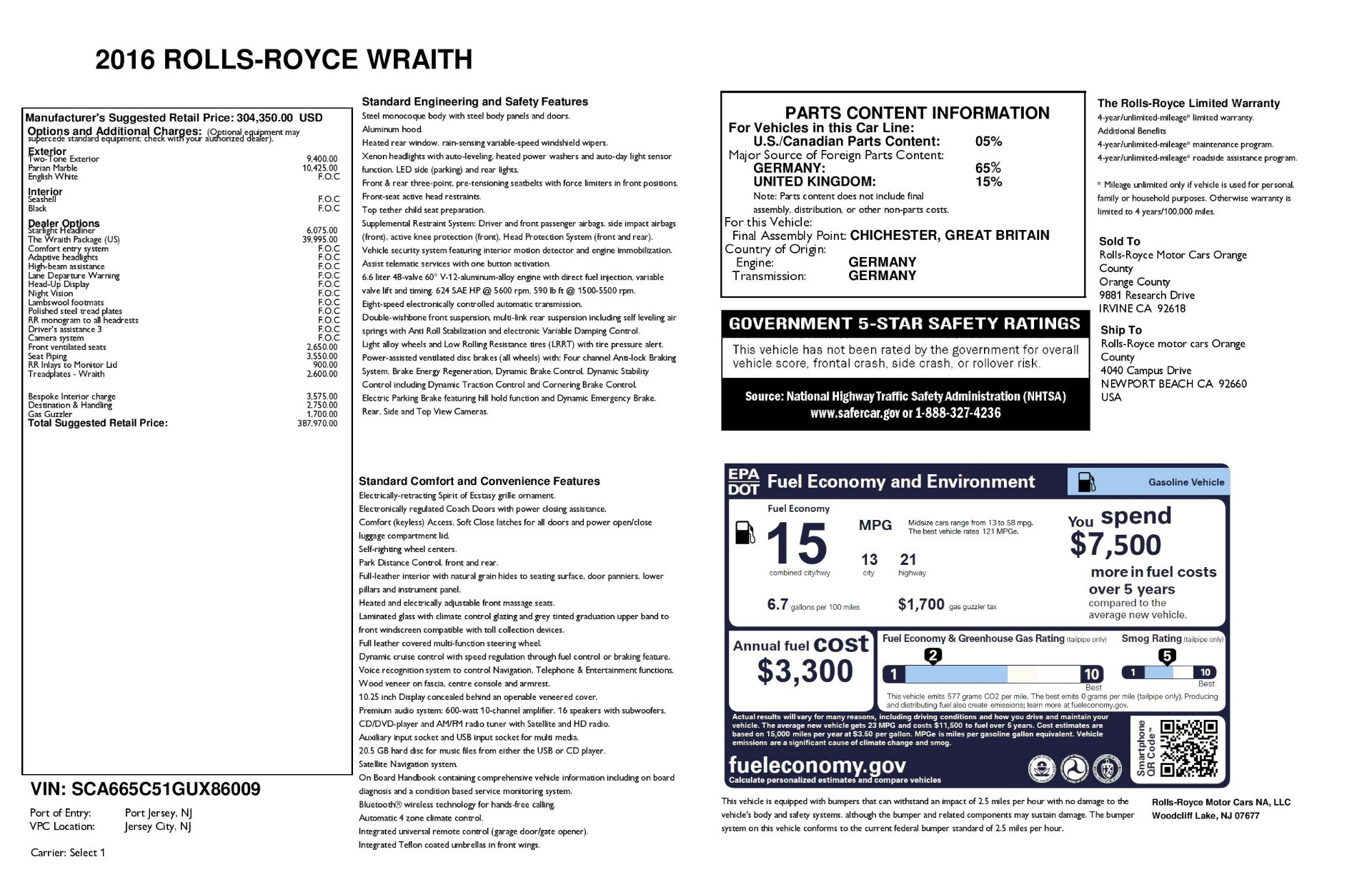 Used 2016 Rolls-Royce Wraith  For Sale $229900 In Greenwich, CT 3043_p44