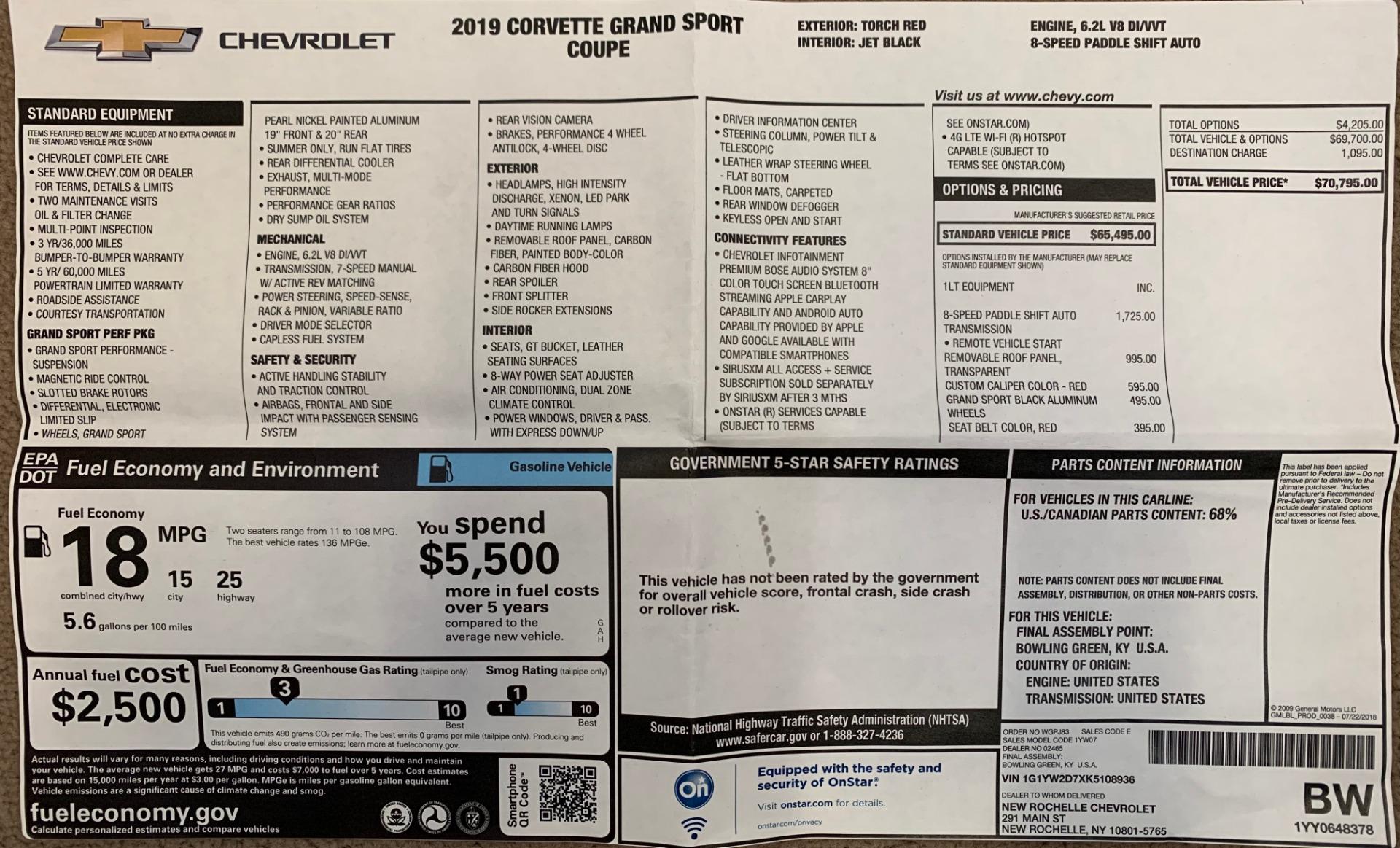 Used 2019 Chevrolet Corvette Grand Sport For Sale In Greenwich, CT. Alfa Romeo of Greenwich, 4550A 3169_p29