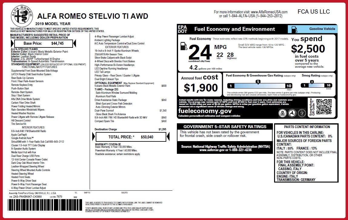 New 2019 Alfa Romeo Stelvio Ti Q4 For Sale In Greenwich, CT. Alfa Romeo of Greenwich, LW340 3252_p31