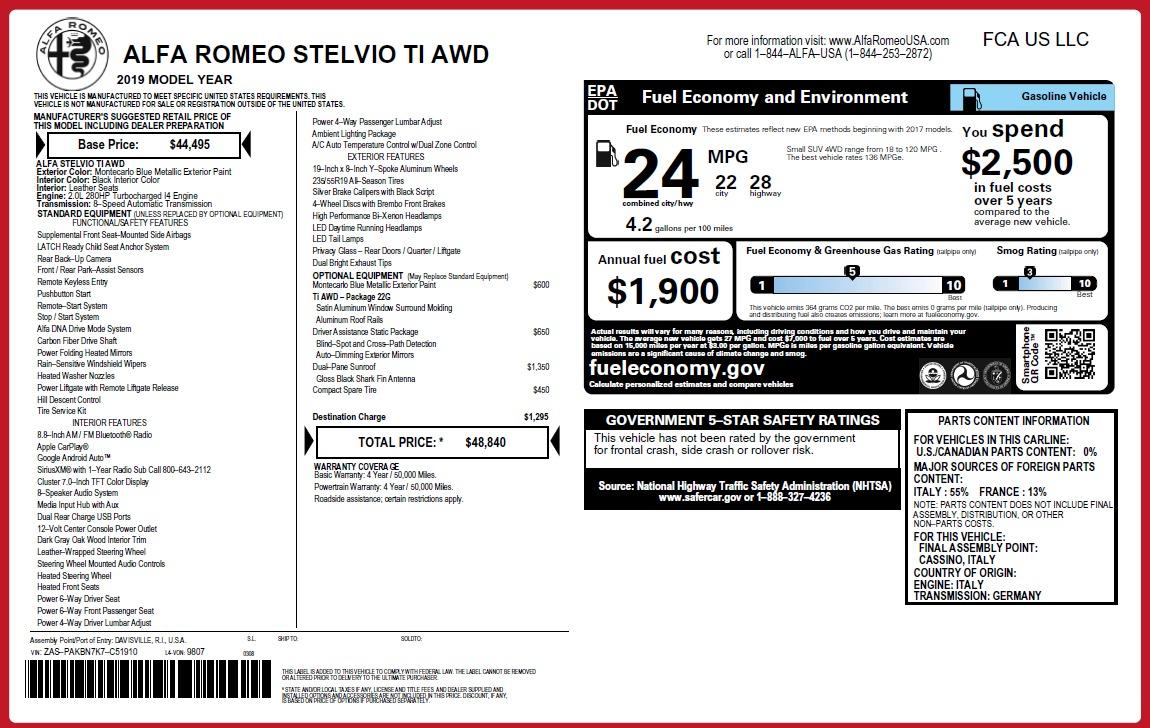 New 2019 Alfa Romeo Stelvio Ti Q4 For Sale In Greenwich, CT. Alfa Romeo of Greenwich, LW341 3258_p2