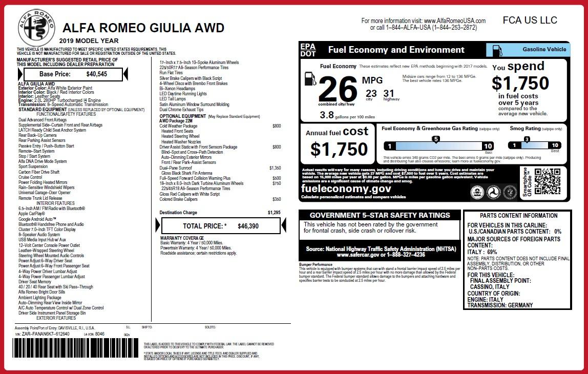 New 2019 Alfa Romeo Giulia Q4 For Sale In Greenwich, CT. Alfa Romeo of Greenwich, L637 3273_p31