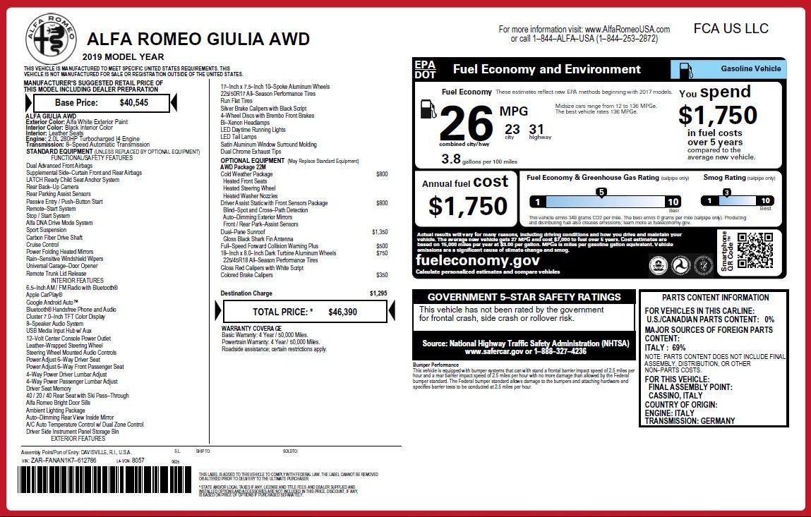 New 2019 Alfa Romeo Giulia Q4 For Sale In Greenwich, CT. Alfa Romeo of Greenwich, L642 3278_p31