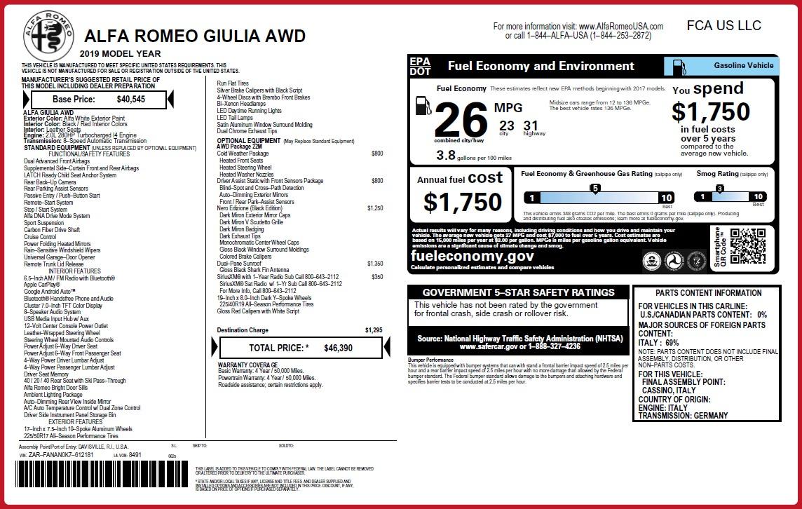 New 2019 Alfa Romeo Giulia Q4 For Sale In Greenwich, CT. Alfa Romeo of Greenwich, L643 3279_p31