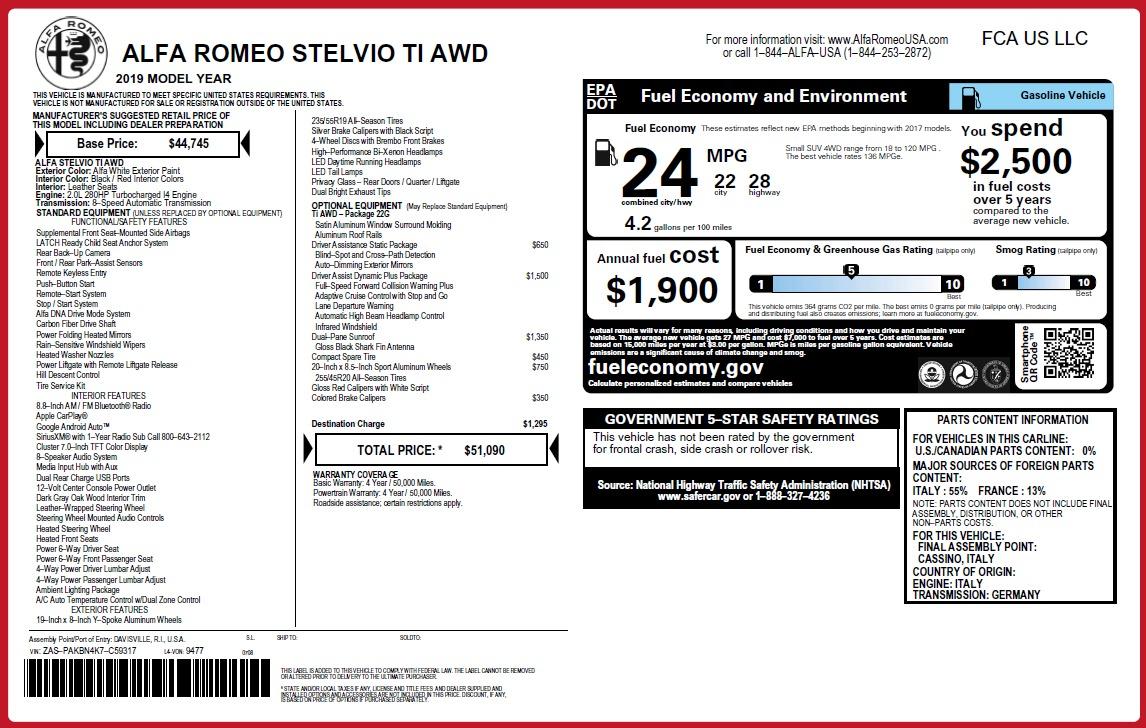 New 2019 Alfa Romeo Stelvio Ti Q4 For Sale In Greenwich, CT. Alfa Romeo of Greenwich, L652 3324_p2